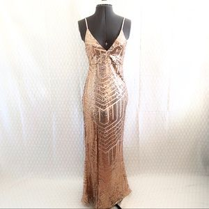 Dresses & Skirts - NWOT Champagne Rose Gold Art Deco Sequin Gown